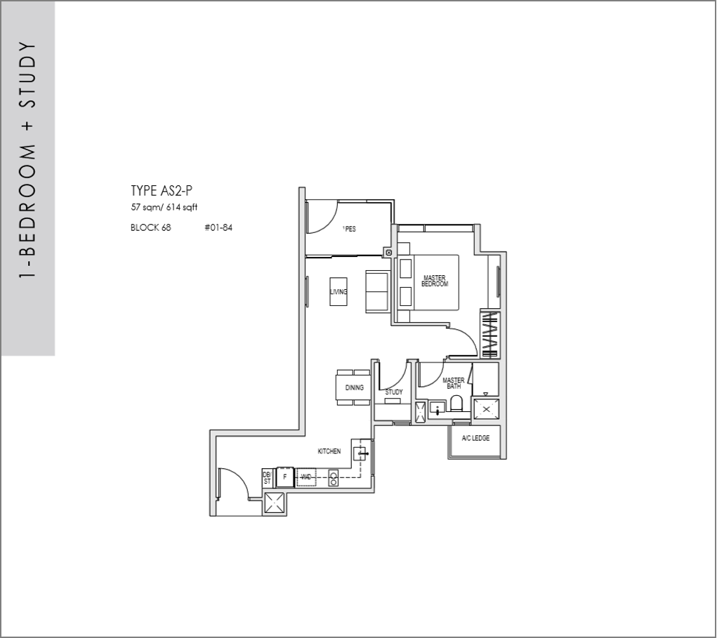 kent ridge hill residences floor plan_1 bedroom + Study