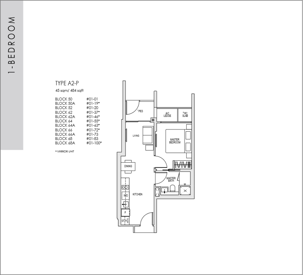 kent ridge hill residences floor plan_1 bedroom