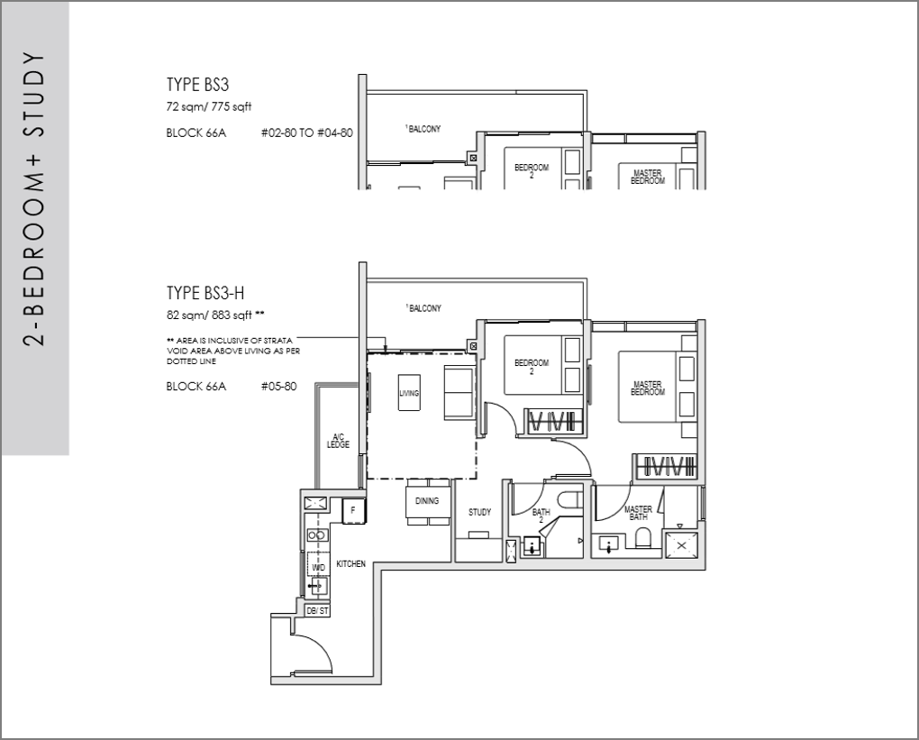 kent ridge hill residences floor plan_2 bedroom + Study