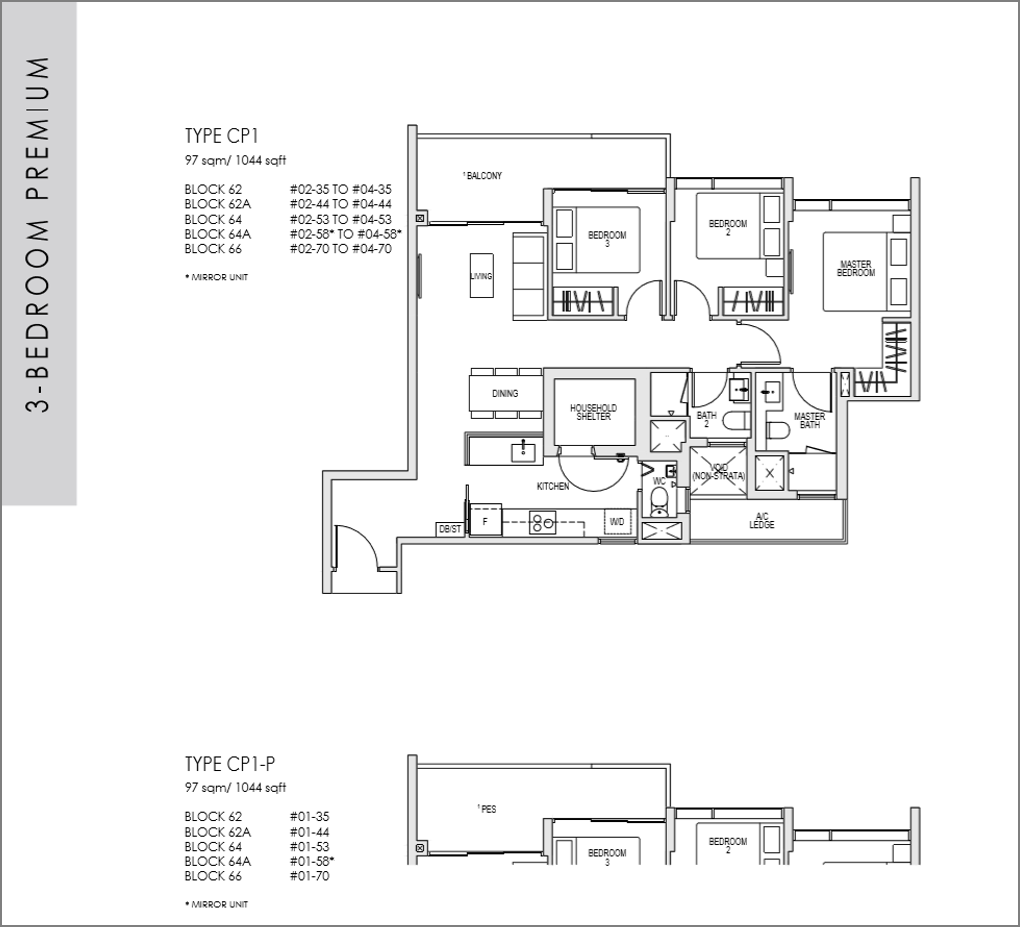 kent ridge hill residences floor plan_3 bedroom Premium