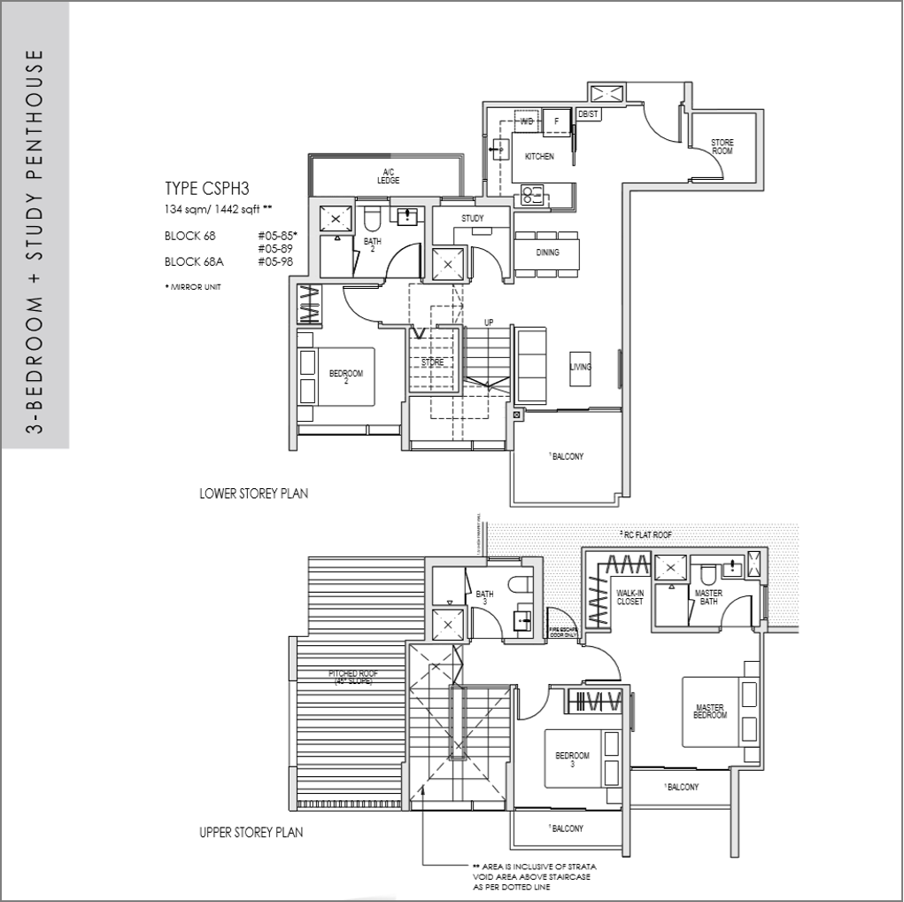 kent ridge hill residences floor plan_3 bedroom + Study Penthouse