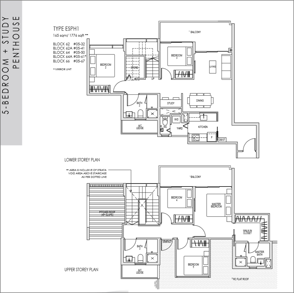kent ridge hill residences floor plan_5 bedroom + Study Penthouse